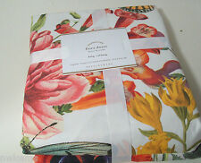 Pottery Barn Cotton Flowers Butterfly Floral Flora King Duvet Cover Brand New