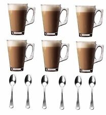 Set Of 6 Latte Cups Glasses Cappuccino Coffee Tea Cup Mugs Cafe Bar + 6 Spoons