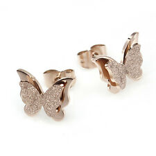 DOUBLE FROSTED BUTTERFLY ROSE GOLD GP SURGICAL STAINLESS STEEL STUD EARRINGS