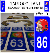 1 sticker plaque immatriculation auto DOMING 3D RESINE CASQUE F1 POMPIER DEPA 86