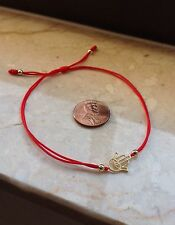 Sterling Silver Hamsa Hand of Fatima Evil Eye Red Cord Bracelet(Yellow Gold)