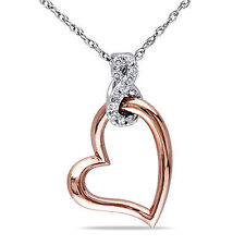 10k White Gold Diamond heart love Pendant Necklace With Chain GH I2-I3