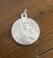 Vintage French Religious Medal Sacred Heart Jesus Fatima Signed Silverplate