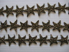 8 YDS BLACK/GOLD METALLIC STAR VENISE LACE APPLIQUE