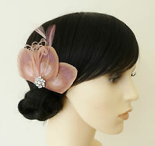 Dusky Pink PEACOCK Feather Fascinator HAIR CLIP Bridesmaids Wedding 'Lizbeth'