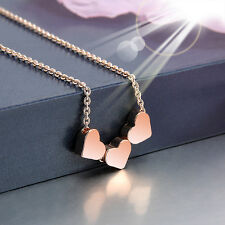 New Fashion Stainless Steel Women Jewelry three Heart Necklace Pendant Rose Gold