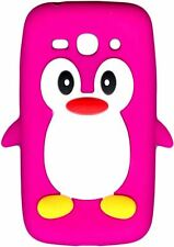 Pink Novelty Penguin Silicone Cover/Case for Samsung Galaxy Ace 3