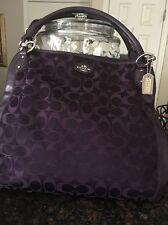 Coach COLETTE Brown Leather Purple Signature Jacquard Satchel F33424