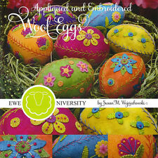 APPLIQUED & EMBROIDERED WOOL EGGS Paper Patterns for 7 4.5 Inch Eggs Easter Home
