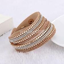 ROSE GOLD SLAKE BRACELET FAUX LEATHER WRAP AROUND BRACELET CUFF BEIGE