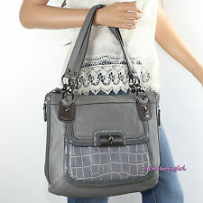 NEW Coach Kristin Leather Spectator Side Zip Hobo Shoulder Tote Bag 18303 Grey