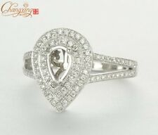7X5mm Pear Cut  14K White Gold Pave Diamond Engagement Semi Mount Ring 0.51ct
