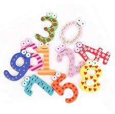 Classic 10 Number Kids Colourful Wooden Alphabet Fridge Magnet Educational Toy