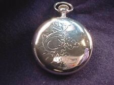 18 SIZE STERLING SILVER OPEN FACE POCKET WATCH CASE IN GOOD CONDITION!  #99