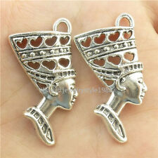 15719*15PCS Antique Silver Vintage Love Heart Queen Egypt Egyptian Pendant Alloy
