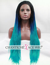 New Lace Front Wigs Synthetic Hair Long Braided Ombre Light Green Heat Resistant