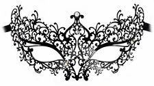 Odette Laser-Cut Metal Black Venetian Masquerade Mask for Women with Crystals