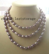 """freshwater pearl purple 9-10mm baroque necklace 43"""" nature wholesale beads gift"""