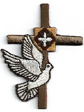 Cross - Holy Spirit - Brown W/White Dove Embroidered Iron On Applique Patch