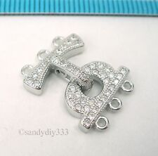 1x  Rhodium plated STERLING SILVER CZ CRYSTAL 3-strand CONNECTOR CLASP #2395