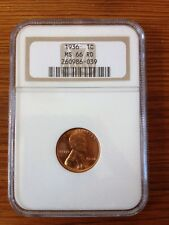 Wheat Penny 1936 MS66 RD NGC Graded