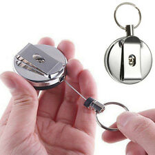 1PC Metal Retractable Pull Chain Reel ID Card Badge Holder Key Ring Belt Clip