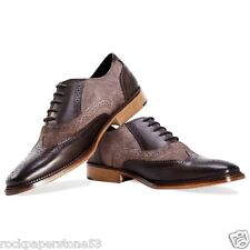 REDFOOT Pelle E Pelle Scamosciata Oxford CALATA BROWN STRINGATI CON Scarpe UK 10/EURO 44 RRP £ 90