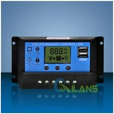 30A 12V/24V LCD Display PWM Panel Regulator Solar Charge Controller USB Timer