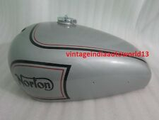 NORTON ES2 SILVER PAINTED GAS FUEL TANK WITH 2 SIDE HOLES FOR KNEE PADS (REPR)