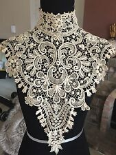 Antique VTG Victorian Crochet BOBBIN Lace Collar Museum Piece RARE #1