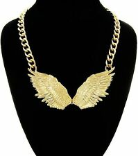 Gold ANGEL WINGS Statement Necklace Link Chain Celebrity Inspired