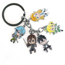 New Sword Art Online Keychain Anime Metal Charm Keyring 5 in 1 Purse Bag Keyfob