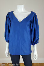 *YVES SAINT LAURENT* RIVE GAUCHE VINTAGE COTTON V NECK PUFF SLEEVE BLOUSE 38