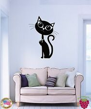 Wall Sticker Cat Kitty Black Pet Animal Cool Decor For Bedroom  (z1599)