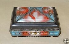 Vintage Antique Beveled Lucite & Tin Cross Religious Jewelry Trinket Box Casket