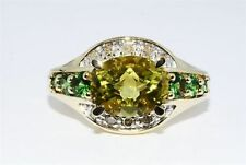 NEW DIAMONDS LEMON QUARTZ GR.DIOPSIDES RING 10K Y GOLD 3.9 GRAMS SIZE 7.5 ESTATE