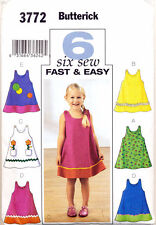 BUTTERICK SEWING PATTERN 3772 TODDLERS SZ 1-3 FAST & EASY A-LINE PINAFORE/DRESS