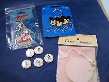 Disney Mickey Minnie Mouse 8 Piece Lot Keychain Buttons Tokyo Ornament Sorcerer