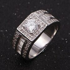 Size 11 Fashion Mens AAA Topaz 18K Gold Filled Engagement Band Wedding Ring Gift