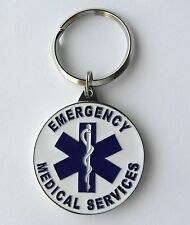 EMS EMERGENCY MEDICAL SERVICE FIRST RESPONDER KEYRING KEY CHAIN 1.5 INCHES