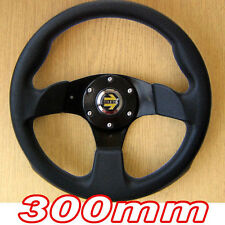 Sports Steering Wheel 300mm - Black 3 Spoke 30cm - Racing Track Go Cart Kart