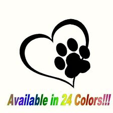 Heart Paw Vinyl Decal Sticker for Car Truck Bumper Window Adopt Cat Dog laptop
