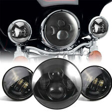 """7"""" Black LED Projector Daymaker Headlight & Auxiliary Passing Lights For Harley"""