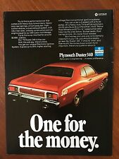 1973 Original Print Ad Red PLYMOUTH DUSTER 340 ~One For The Money~