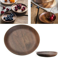 6'' Wooden Plate Wood Serving Tray Sushi Dessert Platter Saucer Holder Tableware