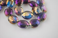 Bulk 10pcs Faceted Glass Crystal Oval Charms Loose Spacer Beads Purple Colorized