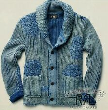 Rare $895 RRL Ralph Lauren Faded Indigo Patchwork Shawl Cardigan Mens Size XL