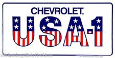 "Chevrolet USA-1 American Flag 6"" x 12"" Embossed Metal License Plate Tag"