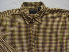 American Eagle Men's 100% Cotton LS Button Down Shirt - Yellow Checkered - Large