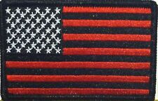 USA AMERICAN Flag Iron-On Patch Morale Patch Black & Red Version Black Border